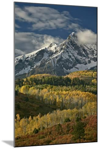 Mears Peak with Snow and Yellow Aspens in the Fall-James Hager-Mounted Photographic Print