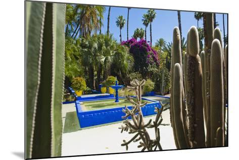 Blue Fountain and Cactus in the Majorelle Gardens (Gardens of Yves Saint-Laurent)-Matthew Williams-Ellis-Mounted Photographic Print