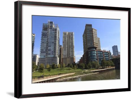 Expensive Apartment Buildings on the Chicago River-Amanda Hall-Framed Art Print