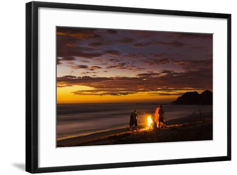 People with Driftwood Fire at Sunset on Playa Guiones Beach-Rob Francis-Framed Art Print