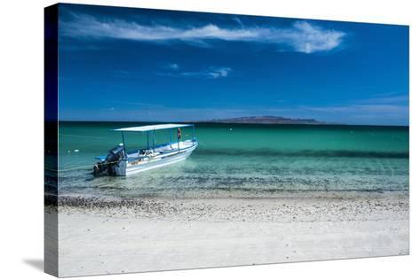 Boat on Playa Tecolote with Isla Espiritu Santo in the Background-Michael Runkel-Stretched Canvas Print
