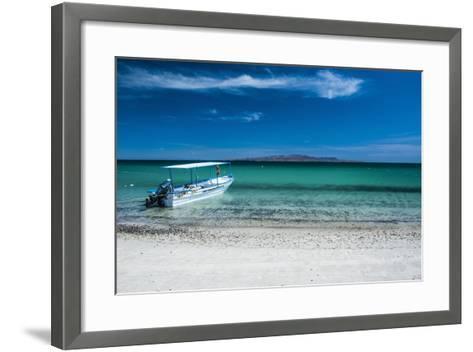 Boat on Playa Tecolote with Isla Espiritu Santo in the Background-Michael Runkel-Framed Art Print