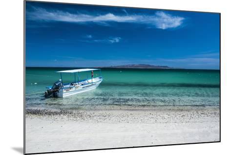 Boat on Playa Tecolote with Isla Espiritu Santo in the Background-Michael Runkel-Mounted Photographic Print