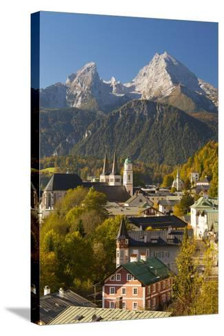 View of Berchtesgaden in Autumn with the Watzmann Mountain in the Background-Miles Ertman-Stretched Canvas Print