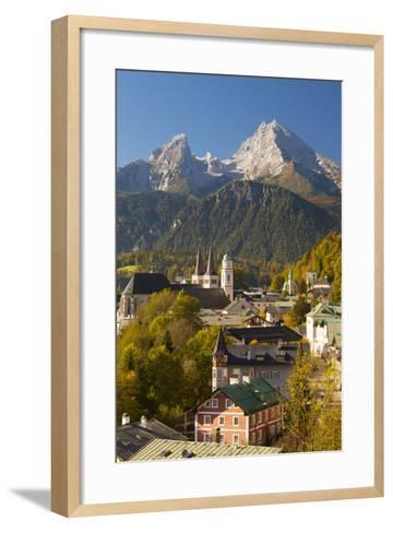 View of Berchtesgaden in Autumn with the Watzmann Mountain in the Background-Miles Ertman-Framed Art Print