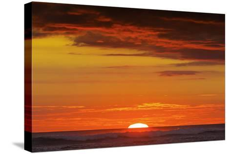 Sunset and Sunlit Clouds over Playa Guiones Surf Beach-Rob Francis-Stretched Canvas Print