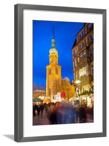 St. Reinoldi Church and Christmas Market at Dusk, Dortmund, North Rhine-Westphalia, Germany, Europe-Frank Fell-Framed Art Print