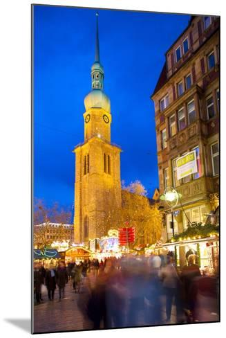 St. Reinoldi Church and Christmas Market at Dusk, Dortmund, North Rhine-Westphalia, Germany, Europe-Frank Fell-Mounted Photographic Print