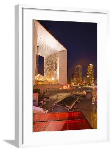 High Rise Office Buildings and La Grande Arche in the La Defense Area at Night-Julian Elliott-Framed Art Print