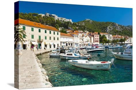 Hvar Harbour and Fortica (Spanish Fortress)-Matthew Williams-Ellis-Stretched Canvas Print