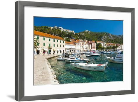 Hvar Harbour and Fortica (Spanish Fortress)-Matthew Williams-Ellis-Framed Art Print