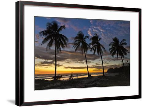 Palm Trees at Sunset on Playa Guiones Surfing Beach-Rob Francis-Framed Art Print