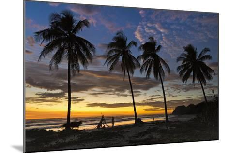 Palm Trees at Sunset on Playa Guiones Surfing Beach-Rob Francis-Mounted Photographic Print
