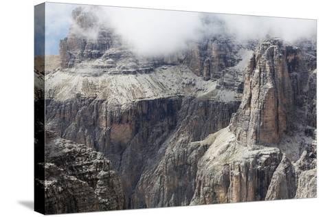 Cloud on the Dramatic Sass Pordoi Mountain in the Dolomites Near Canazei-Martin Child-Stretched Canvas Print