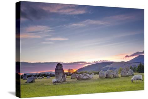 Castlerigg Stone Circle at Sunset-Julian Elliott-Stretched Canvas Print
