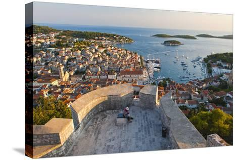 Hvar Town and Tourists at Hvar Spanish Fort (Fortica) at Sunset-Matthew Williams-Ellis-Stretched Canvas Print