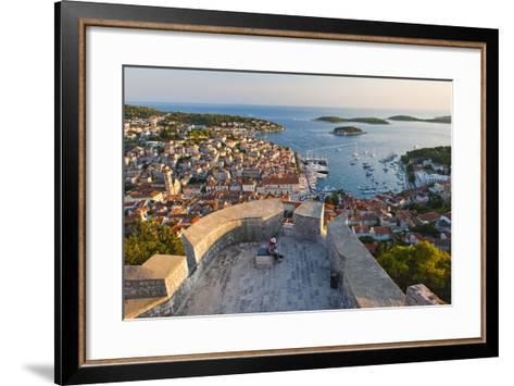 Hvar Town and Tourists at Hvar Spanish Fort (Fortica) at Sunset-Matthew Williams-Ellis-Framed Art Print