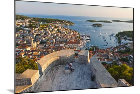 Hvar Town and Tourists at Hvar Spanish Fort (Fortica) at Sunset-Matthew Williams-Ellis-Mounted Photographic Print