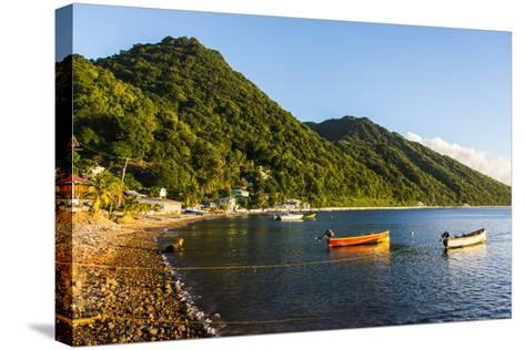 Fishing Boats in the Bay of Soufriere, Dominica, West Indies, Caribbean, Central America-Michael Runkel-Stretched Canvas Print