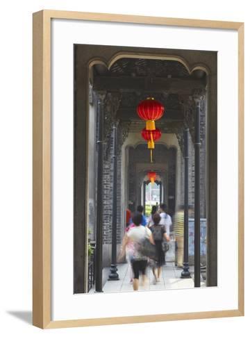 People Walking Along Corridor at Chen Clan Academy, Guangzhou, Guangdong, China, Asia-Ian Trower-Framed Art Print