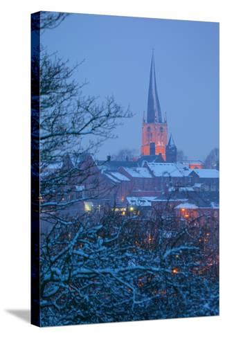 View of Town and Crooked Spire Church, Chesterfield, Derbyshire, England, United Kingdom, Europe-Frank Fell-Stretched Canvas Print