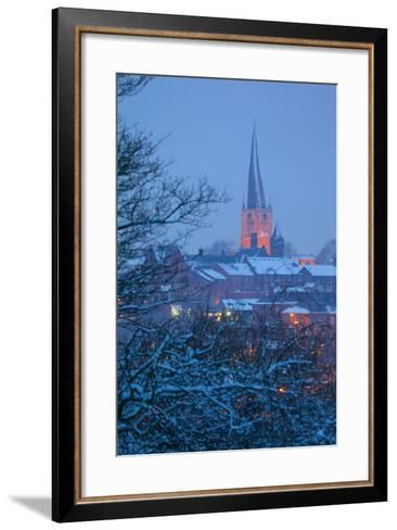View of Town and Crooked Spire Church, Chesterfield, Derbyshire, England, United Kingdom, Europe-Frank Fell-Framed Art Print