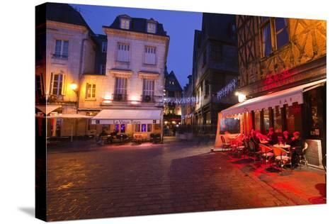 Place Plumereau in Vieux Tours on a Late December Evening, Tours, Indre-Et-Loire, France, Europe-Julian Elliott-Stretched Canvas Print