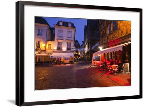 Place Plumereau in Vieux Tours on a Late December Evening, Tours, Indre-Et-Loire, France, Europe-Julian Elliott-Framed Art Print