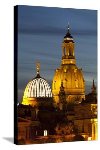 View of the Dome of the Frauenkirche at Night, Dresden, Saxony, Germany, Europe-Miles Ertman-Stretched Canvas Print