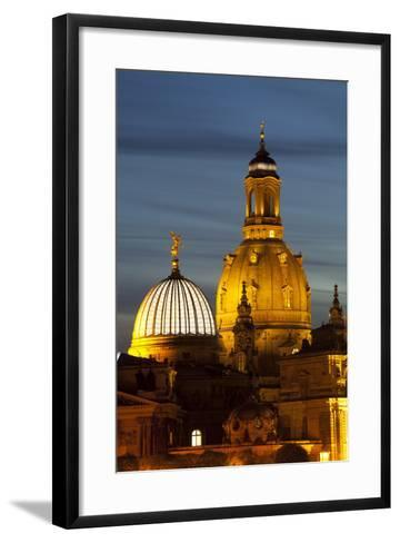 View of the Dome of the Frauenkirche at Night, Dresden, Saxony, Germany, Europe-Miles Ertman-Framed Art Print