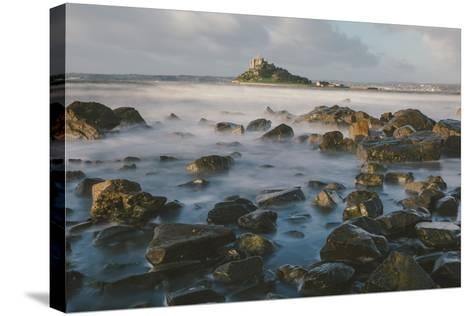 Rocky Shoreline and St. Michaels Mount, Early Morning, Cornwall, England, United Kingdom, Europe-Mark Doherty-Stretched Canvas Print