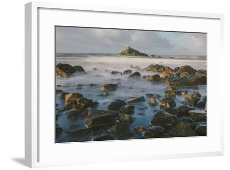 Rocky Shoreline and St. Michaels Mount, Early Morning, Cornwall, England, United Kingdom, Europe-Mark Doherty-Framed Art Print