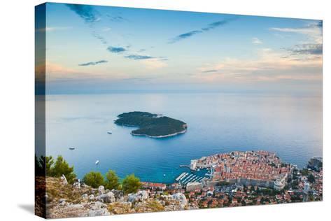 View over Dubrovnik, Lokum Island and Adriatic Sea, Dubrovnik, Dalmatian Coast, Croatia, Europe-Matthew Williams-Ellis-Stretched Canvas Print
