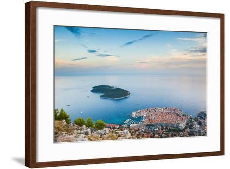 View over Dubrovnik, Lokum Island and Adriatic Sea, Dubrovnik, Dalmatian Coast, Croatia, Europe-Matthew Williams-Ellis-Framed Art Print