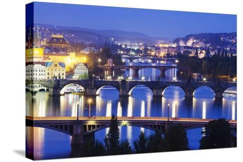 Bridges on the Vltava River, UNESCO World Heritage Site, Prague, Czech Republic, Europe-Christian Kober-Stretched Canvas Print