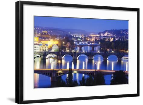 Bridges on the Vltava River, UNESCO World Heritage Site, Prague, Czech Republic, Europe-Christian Kober-Framed Art Print