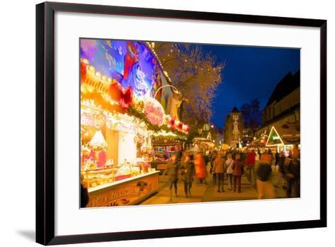 Christmas Market at Dusk, Willy Brandt Platz, Dortmund, North Rhine-Westphalia, Germany, Europe-Frank Fell-Framed Art Print