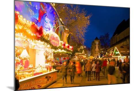Christmas Market at Dusk, Willy Brandt Platz, Dortmund, North Rhine-Westphalia, Germany, Europe-Frank Fell-Mounted Photographic Print