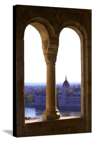 View of Hungarian Parliament Building from Fisherman's Bastion, Budapest, Hungary, Europe-Neil Farrin-Stretched Canvas Print