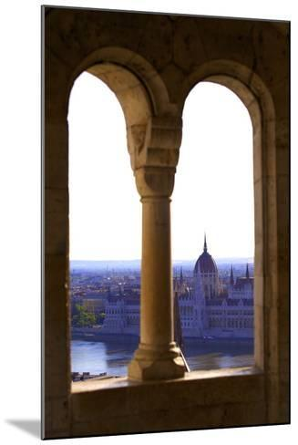 View of Hungarian Parliament Building from Fisherman's Bastion, Budapest, Hungary, Europe-Neil Farrin-Mounted Photographic Print