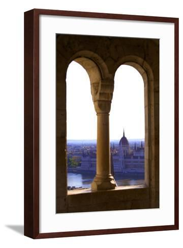 View of Hungarian Parliament Building from Fisherman's Bastion, Budapest, Hungary, Europe-Neil Farrin-Framed Art Print