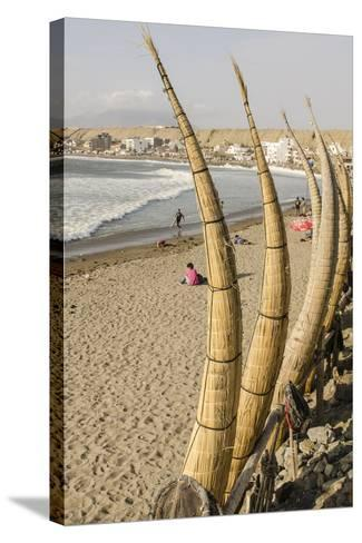 Caballitos De Totora or Reed Boats on the Beach in Huanchaco, Peru, South America-Michael DeFreitas-Stretched Canvas Print