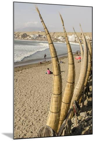 Caballitos De Totora or Reed Boats on the Beach in Huanchaco, Peru, South America-Michael DeFreitas-Mounted Photographic Print