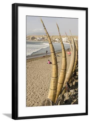 Caballitos De Totora or Reed Boats on the Beach in Huanchaco, Peru, South America-Michael DeFreitas-Framed Art Print