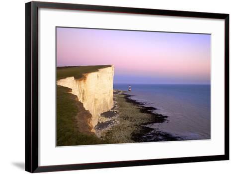 Beachy Head and Beachy Head Lighthouse at Sunset, East Sussex, England, United Kingdom, Europe-Neil Farrin-Framed Art Print