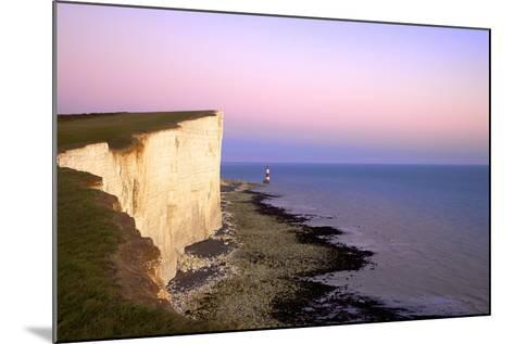 Beachy Head and Beachy Head Lighthouse at Sunset, East Sussex, England, United Kingdom, Europe-Neil Farrin-Mounted Photographic Print