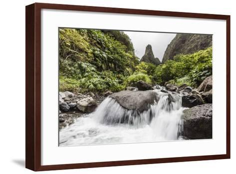 Waterfall in Iao Valley State Park, Maui, Hawaii, United States of America, Pacific-Michael Nolan-Framed Art Print