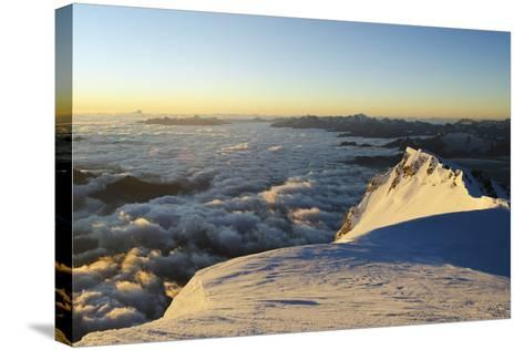 Sunrise from Summit of Mont Blanc, 4810M, Haute-Savoie, French Alps, France, Europe-Christian Kober-Stretched Canvas Print