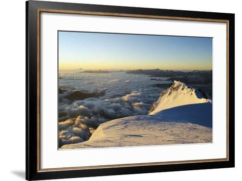 Sunrise from Summit of Mont Blanc, 4810M, Haute-Savoie, French Alps, France, Europe-Christian Kober-Framed Art Print