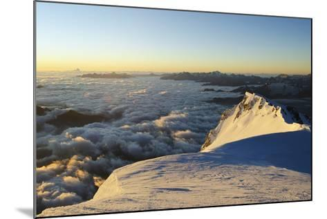Sunrise from Summit of Mont Blanc, 4810M, Haute-Savoie, French Alps, France, Europe-Christian Kober-Mounted Photographic Print